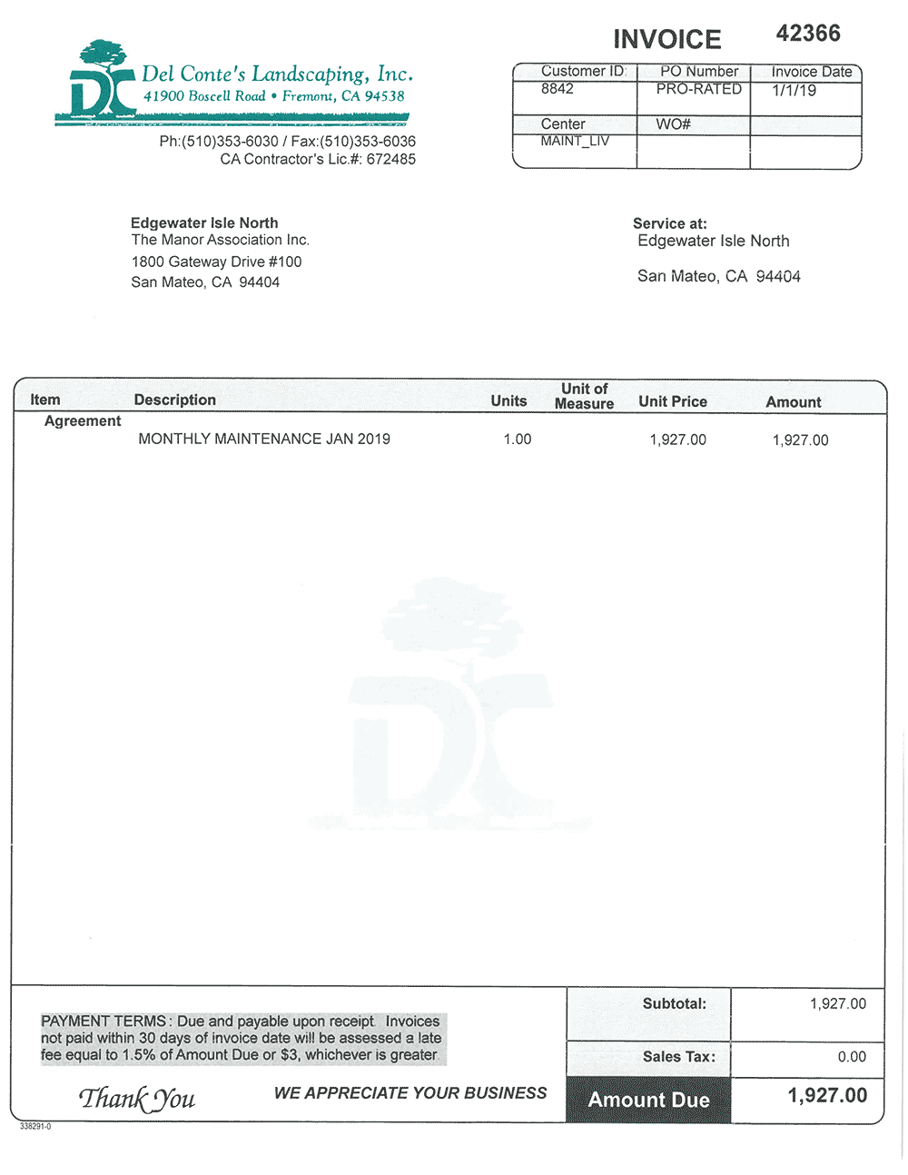 Del Conte's Landscaping has alleged that Edgewater Isle has not paid this invoice